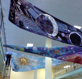 Sewn banners in Nevil Hall