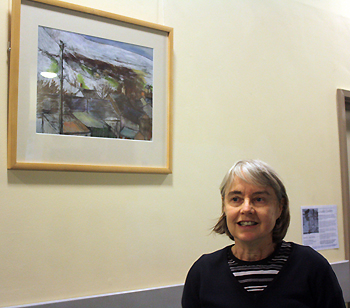 Louella Gwillim with her art work at Nevill Hall